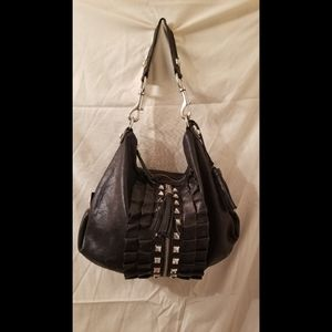 Betsey Johnson black sparkle ruffle bag